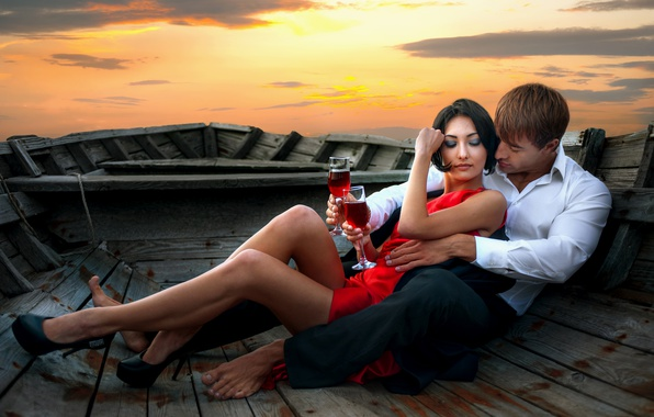 Picture the sky, girl, sunset, wine, boat, dress, brunette, glasses, pair, guy, lovers, in red