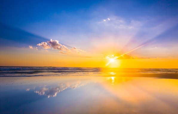 Picture sea, wave, beach, the sun, clouds, reflection, sunrise, mirror, horizon