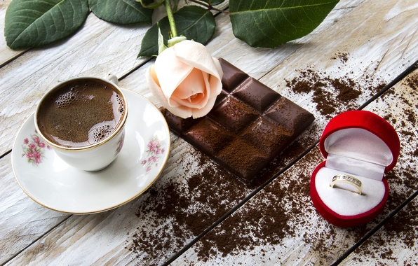Picture coffee, food, chocolate, roses, ring, Cup, still life