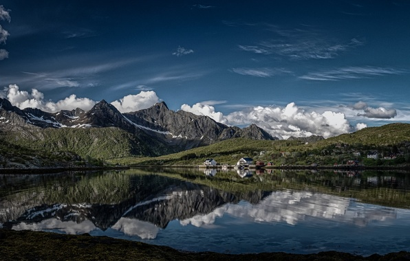 Picture clouds, mountains, reflection, village, Norway, Norway, the fjord, The Lofoten Islands, Lofoten, island Austvagoy, Kalle, …