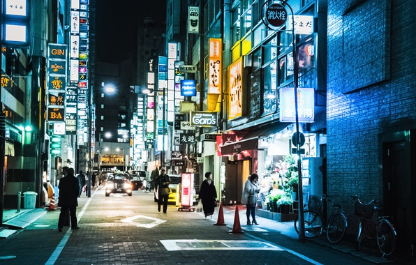 Photo Wallpaper Tokyo Japan Street People Neon Cityscape Shops