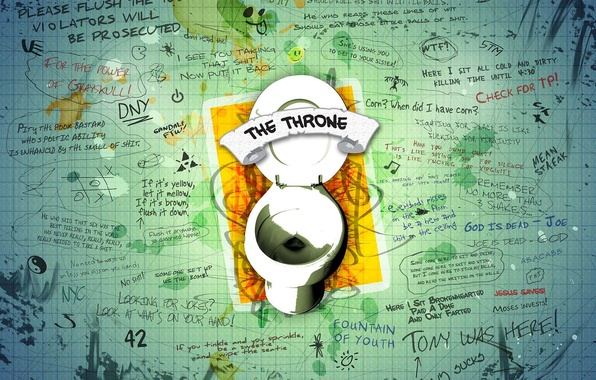 Picture the throne, the toilet, text