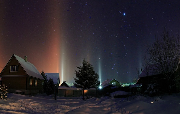 Picture winter, the sky, stars, snow, trees, night, lights, the snow, houses, village