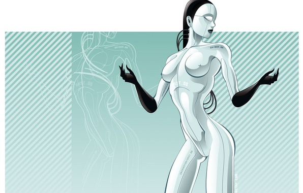 Picture girl, vector, Robot