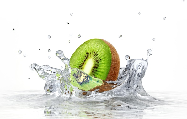 Picture water, squirt, kiwi, white background, water, kiwi, white background, sprays