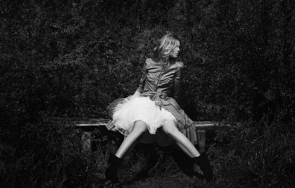 Picture girl, bench, dress, sitting