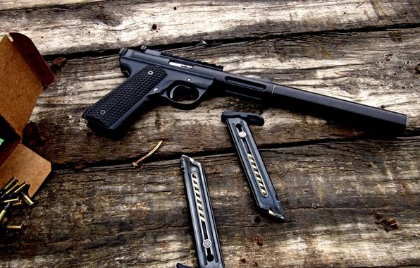 Picture box, black, Board, Gun, cartridges, clips, 2 pieces, Pac-Lite MKIII