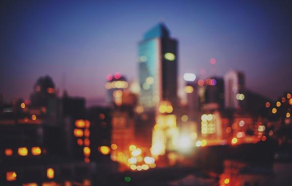 Picture lights, twilight, dusk, bokeh, downtown, Santiago, Chile