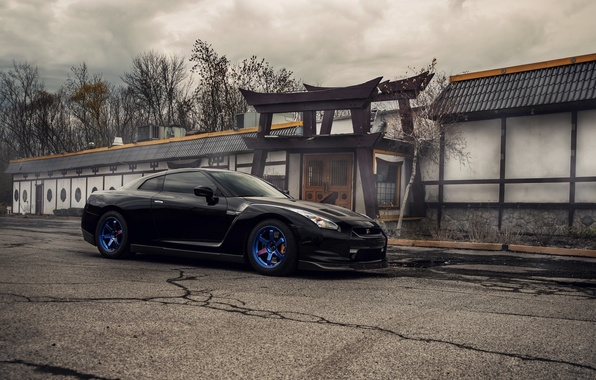Picture Nissan, GT-R, Before, R35, Blue Wheels