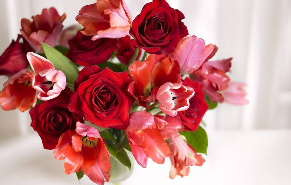 Picture roses, bouquet, tulips, vase, aroma
