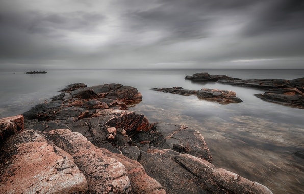 Picture the sky, clouds, stones, the ocean, shore, coast, Sea, grey