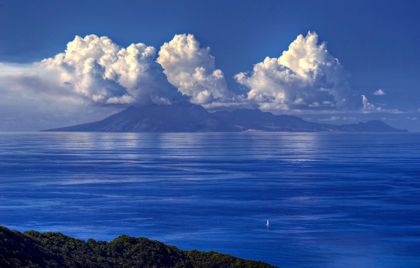 Picture sea, the sky, clouds, mountains, sailboat
