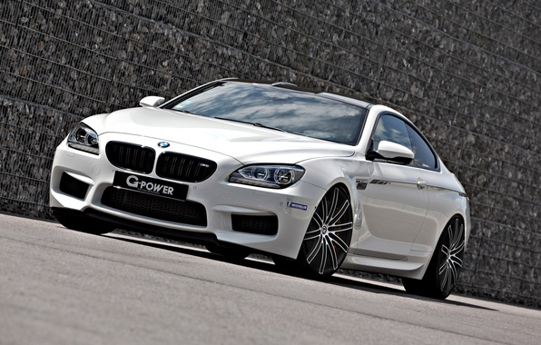 Picture BMW, white, tuning, coupe, front, g-power, f13
