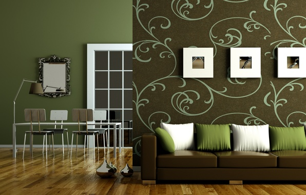 Picture design, green, style, table, sofa, tree, lamp, chairs, interior, pillow, mirror, flooring, apartment, brown, living …