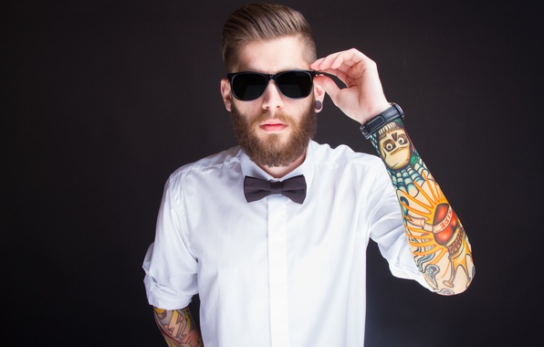 Picture watch, tattoos, shirt, sunglasses