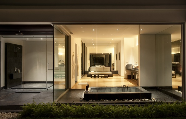 Picture glass, design, house, style, interior, bathroom, Phuket