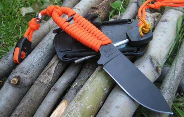 Picture orange, black, knife, cord, blade, sheath