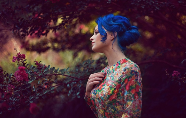 Picture girl, dress, blue hair