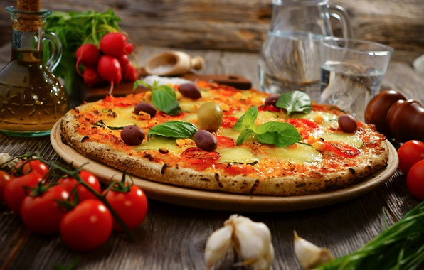 Picture water, oil, food, cheese, vegetables, pizza, tomatoes, olives, dish, garlic, radishes