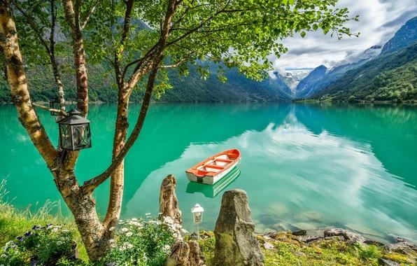 Picture mountains, lake, tree, boat, Norway, lantern, birch, Norway, Stryn, Stryn, Lake Oldevatnet