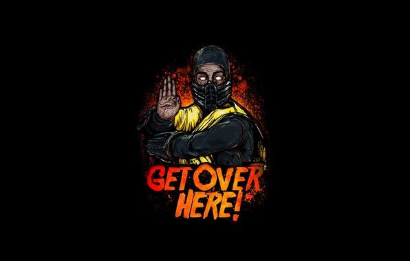 Picture yellow, fighter, ninja, art, Mortal Kombat, Scorpion
