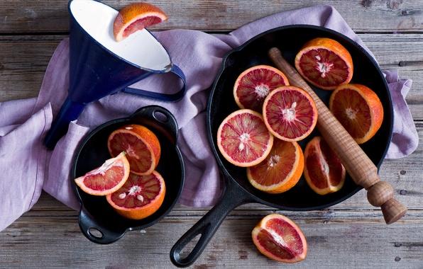Photo wallpaper oranges, funnel, bloody oranges