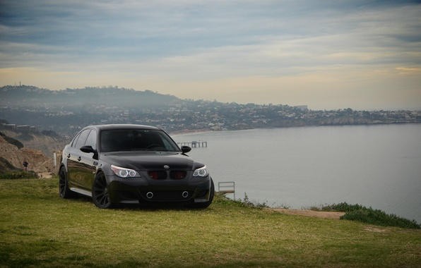 Picture sea, the sky, clouds, black, tuning, bmw, BMW, slope, sedan, black, front view, e60