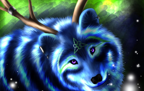 Picture look, face, blue, animal, wolf, wool, symbol, horns
