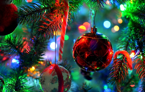 Picture decoration, branches, lights, toys, ball, spruce