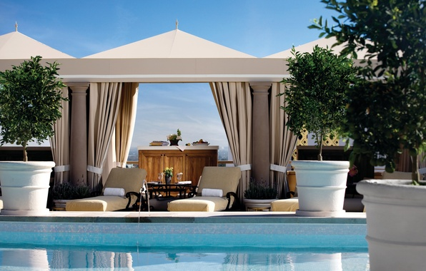 Picture trees, design, interior, pool, sun loungers, tables, exterior, gazebo, vases