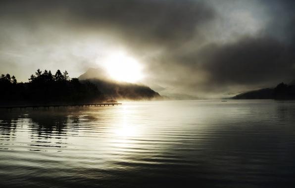 Picture trees, sunset, fog, lake, mountain, spruce, pierce, the sun's rays