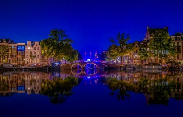 Picture bridge, reflection, river, building, Amsterdam, Netherlands, night city, Amsterdam, Netherlands, Amstel River, the Amstel river