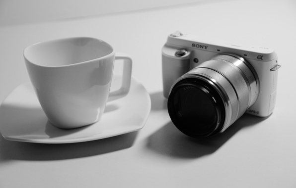 Picture white, black, sony, night, camera, macro, cup, mood, situation, relaxing, nex