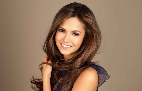 Picture look, girl, joy, smile, background, star, actress, brunette, the series, the vampire diaries, celebrity, Nina …