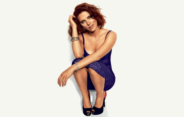 Picture girl, smile, actress, Scarlett Johansson, red, Scarlett Johansson, blue dress