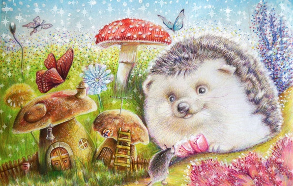 Picture flowers, butterfly, mushrooms, mouse, art, hedgehog