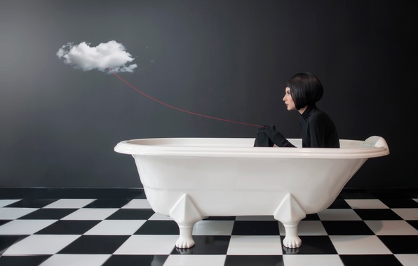 Picture girl, cloud, bath