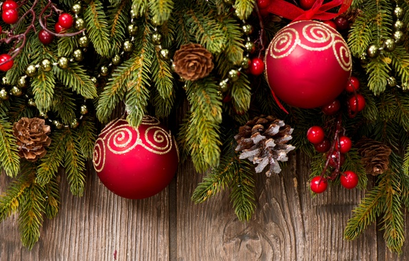Picture balls, branches, balls, pattern, toys, spruce, sequins, New Year, Christmas, red, tree, gold, Christmas, bumps, …