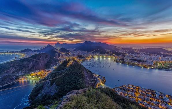 Picture sunset, mountains, the city, the ocean, home, Bay, yachts, Rio de Janeiro, Rio de Janeiro, …