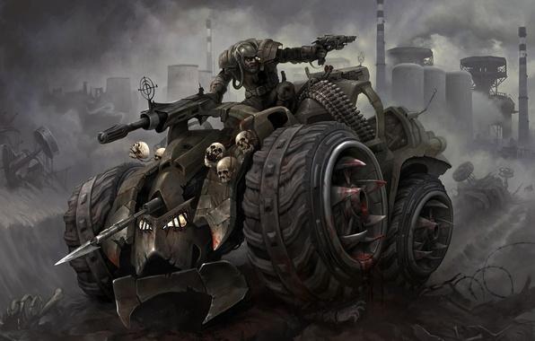 Picture car, battlefield, sake, gun, blood, pistol, fantasy, soldier, chaos, weapon, war, dead, power, dust, fog, …