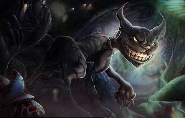 Picture butterfly, mushrooms, monster, art, fangs, grin, earring, alice madness returns, Cheshire Cat