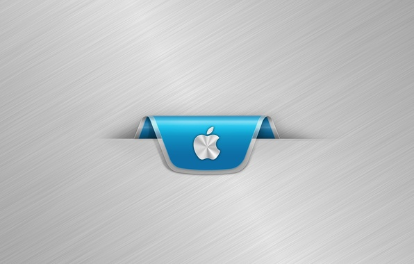 Picture metal, strip, Apple, silver, Apple, minimalism, logo, bookmark