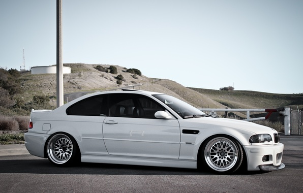 Picture white, hills, BMW, post, BMW, white, E46