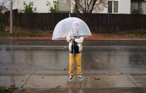 Picture jump, child, umbrella, boy