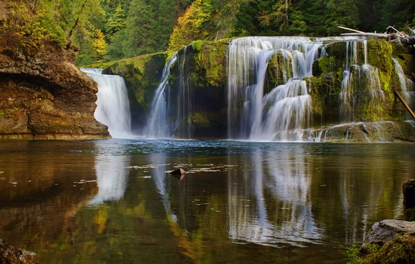 Picture autumn, forest, lake, waterfall, cascade