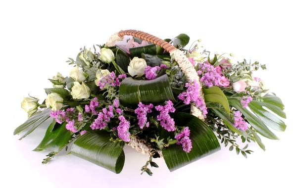 Picture photo, Flowers, Bouquet, Roses, boxwood, Eustoma