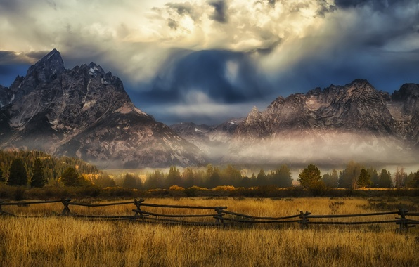 Picture field, clouds, trees, mountains, fog, the fence, storm, valley, sunlight