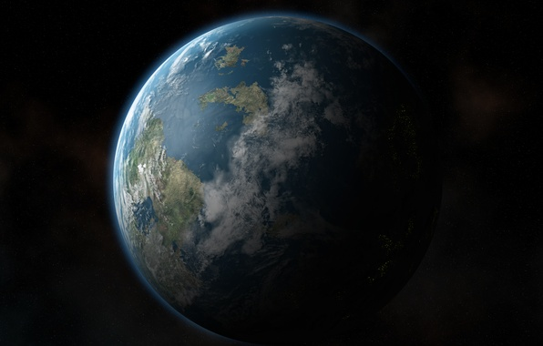 Picture space, stars, continents, Earth