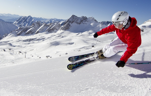 Picture mountains, Snow, extreme, skiing, blue sky, carving, carving, ski