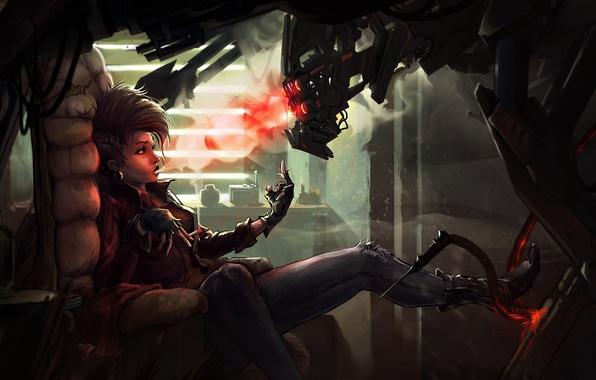 Picture girl, fiction, smoke, robot, cigarette, smokes, cyberpunk